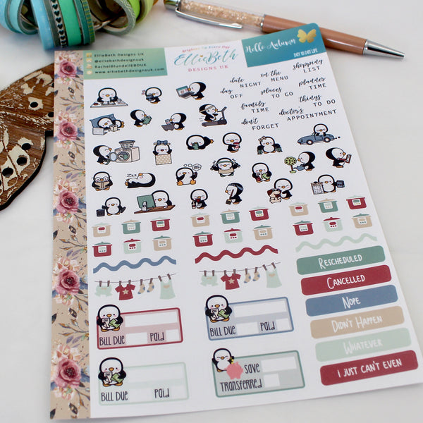 'Hello Autumn' - Day to Day LIFE - A5 binder ready planner stickers - EllieBeth Designs UK