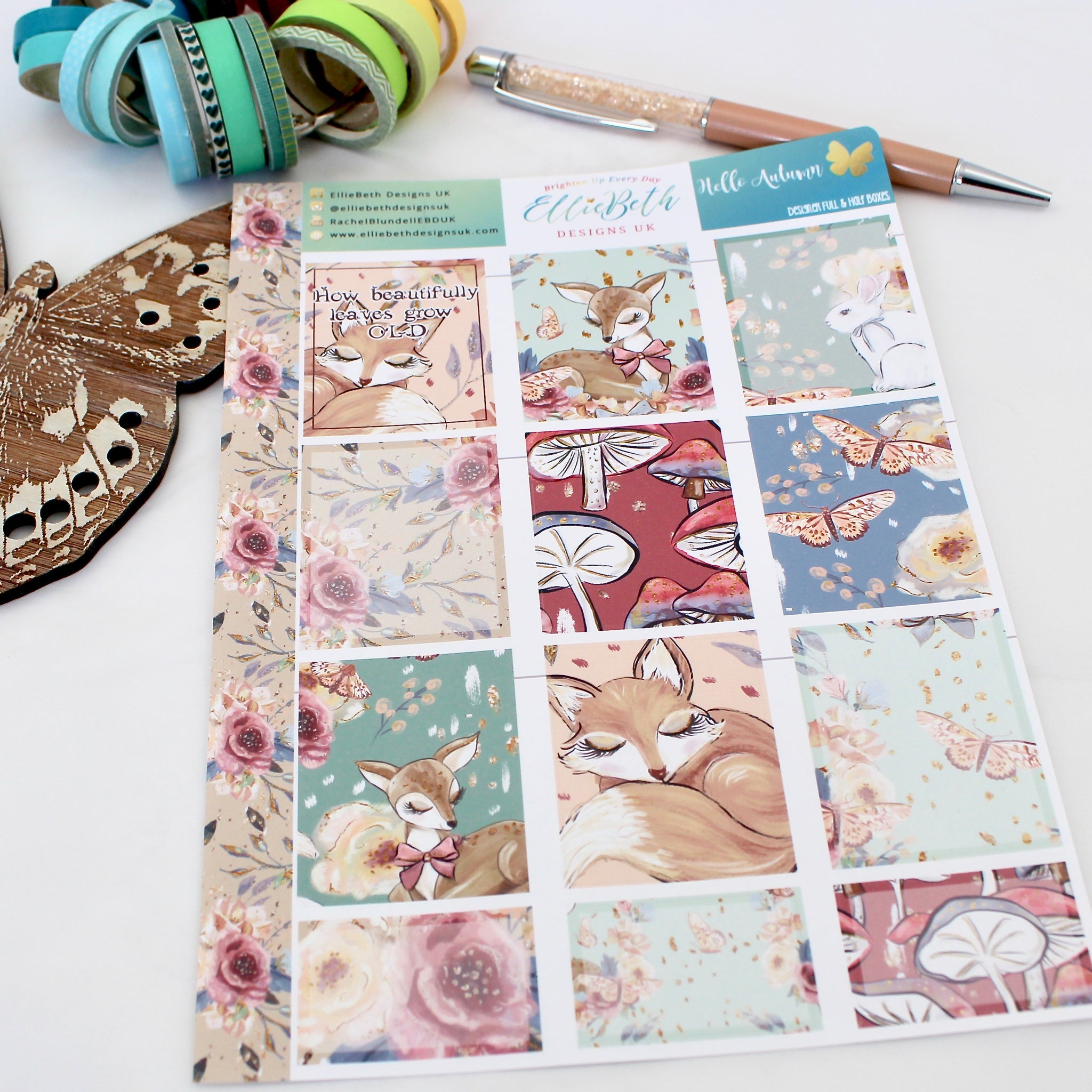 'Hello Autumn' - Designer Full and Half Boxes Sheet -  A5 binder ready planner stickers