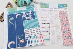 'Be Owlsome' - Monthly View Kit -  A5 binder ready planner stickers - EllieBeth Designs UK