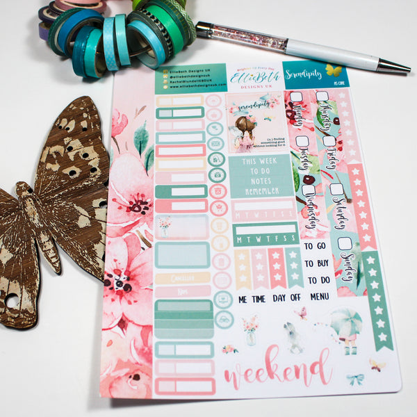 'Serendipity' - A5 Core Sheet - A5 binder ready planner stickers