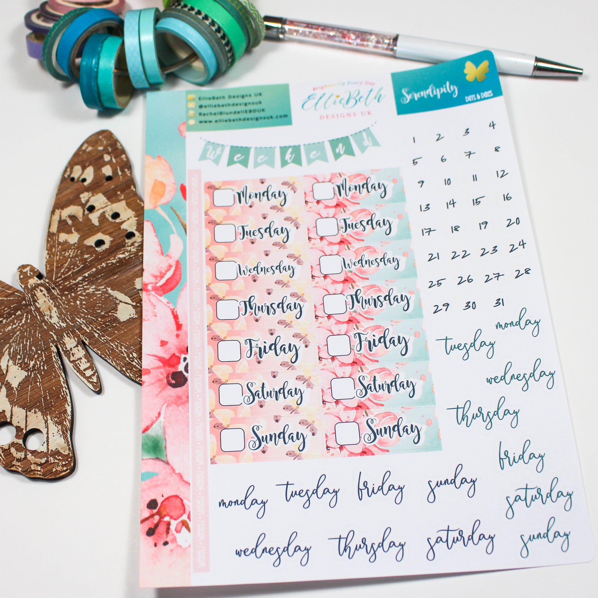 'Serendipity' - Days and Dates - A5 binder ready planner stickers