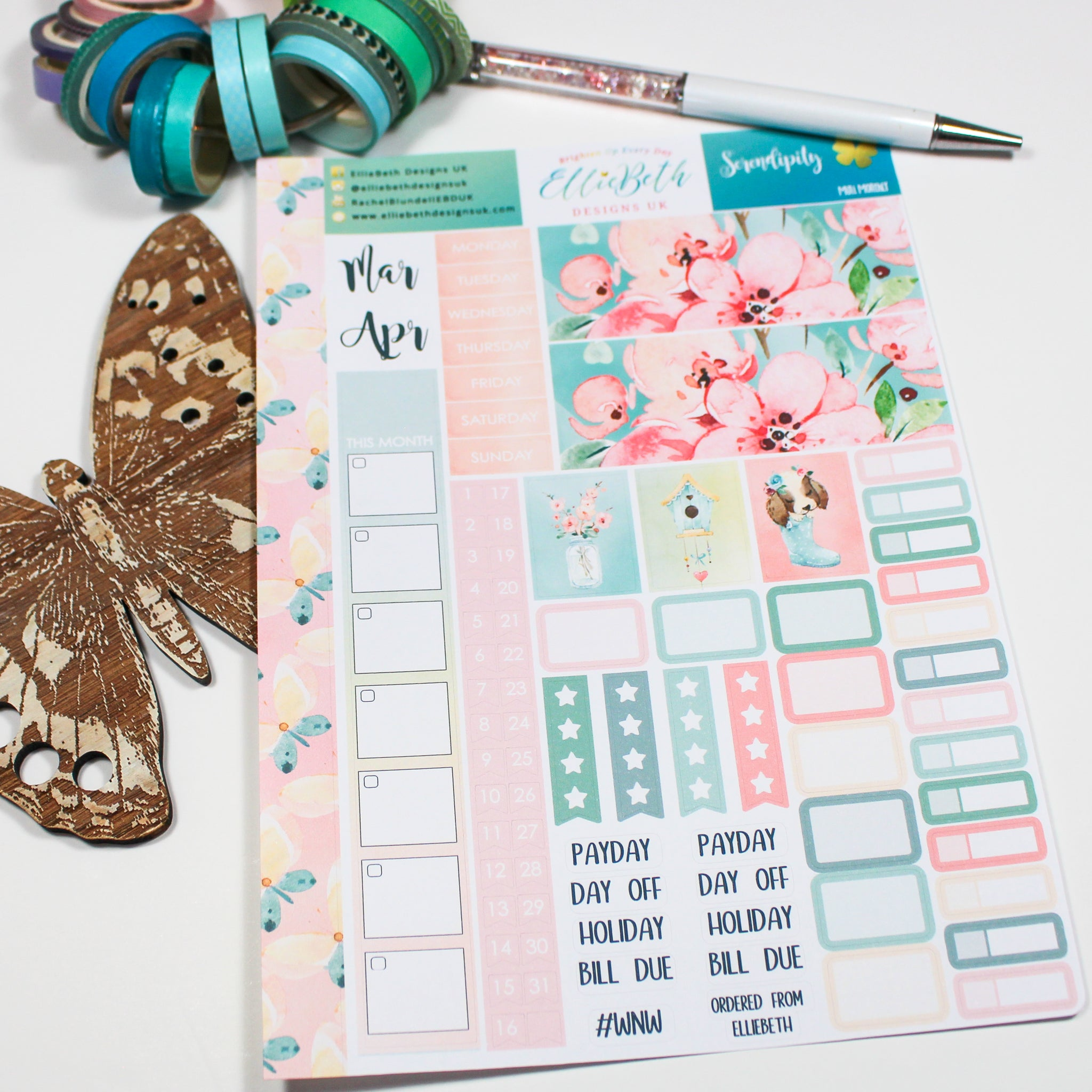 'Serendipity' - Mini Monthly (Hobonichi Weeks compatible) - A5 binder ready planner stickers