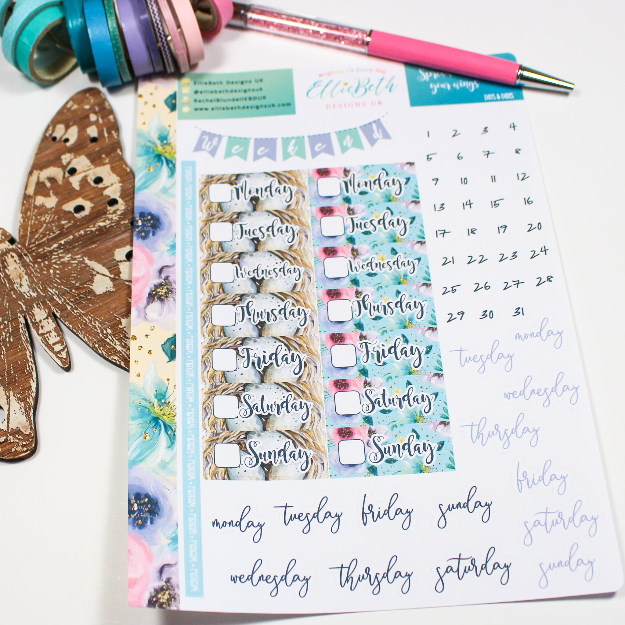 'Spread Your Wings' - Days and Dates - A5 binder ready planner stickers