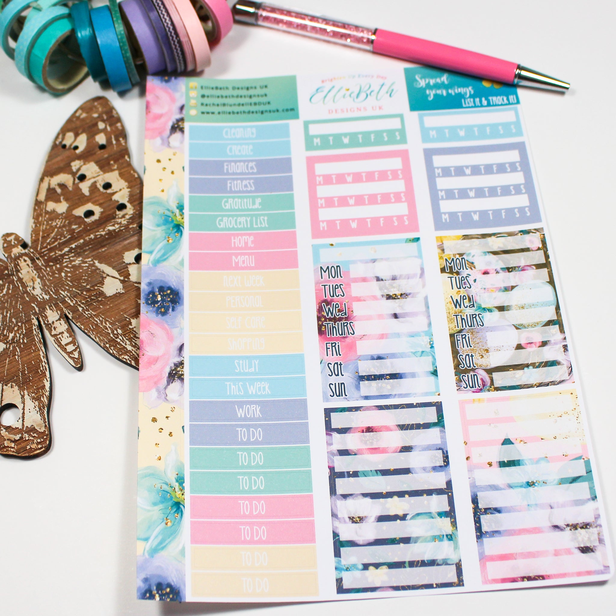 'Spread Your Wings' - List It & Track It -  A5 binder ready planner stickers
