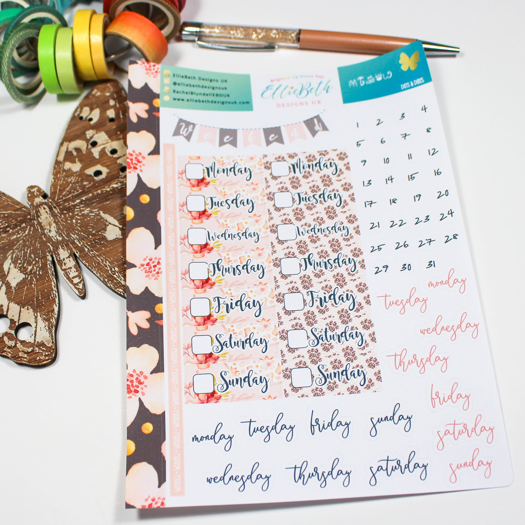 'Miaow' - Days and Dates - A5 binder ready planner stickers