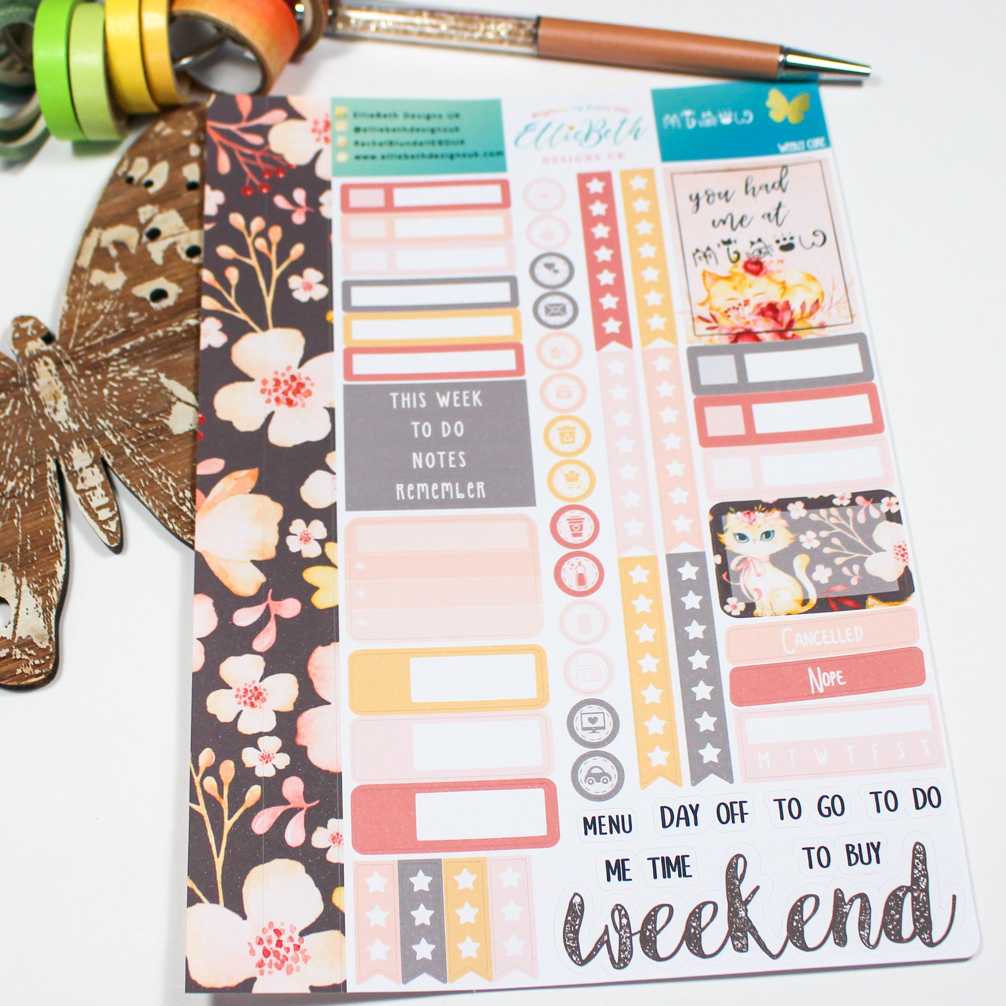 'Miaow' - Weekly Core Sheet - A5 binder ready planner stickers
