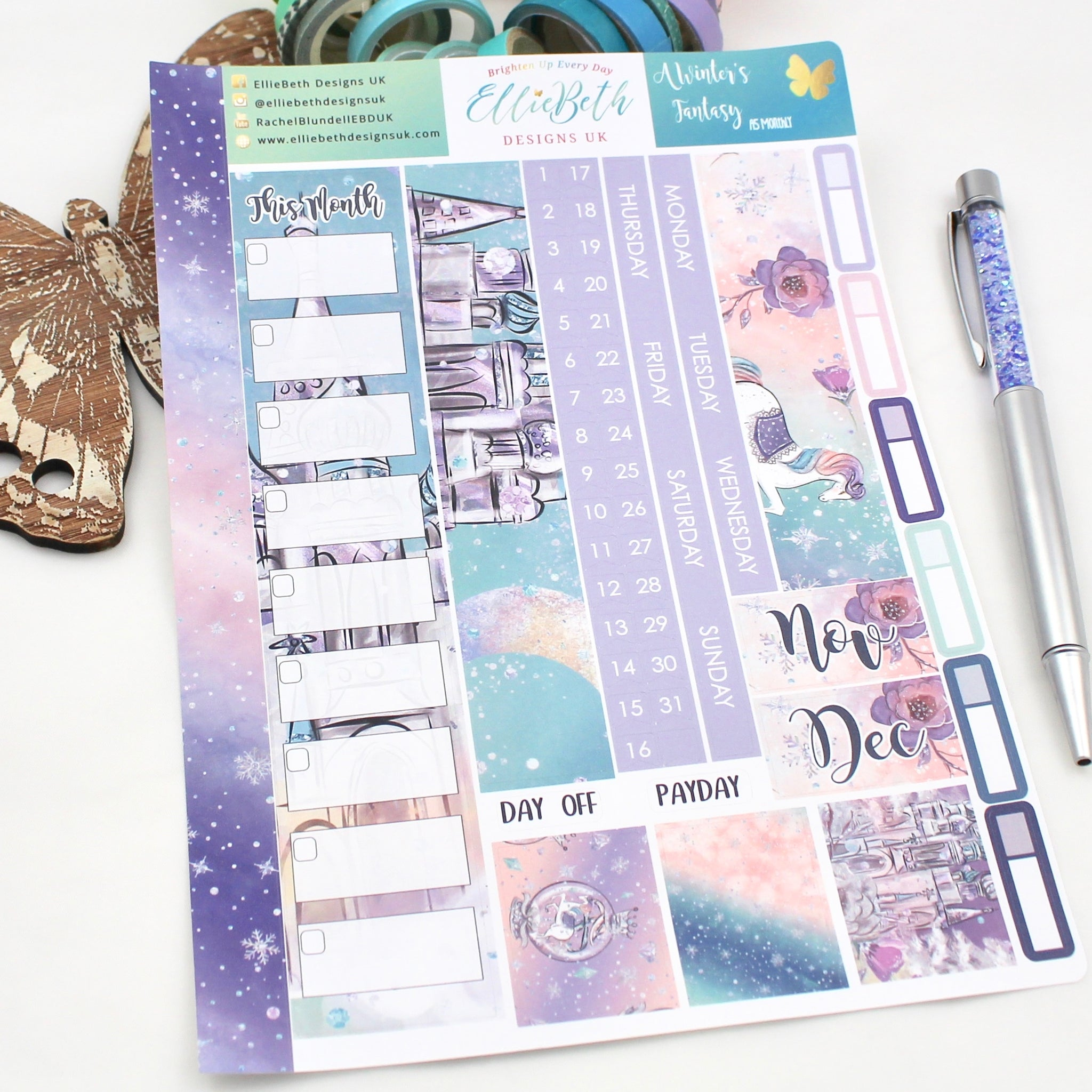 A Winter's Fantasy - A5 Monthly View Kit - A5 binder ready planner stickers - EllieBeth Designs UK