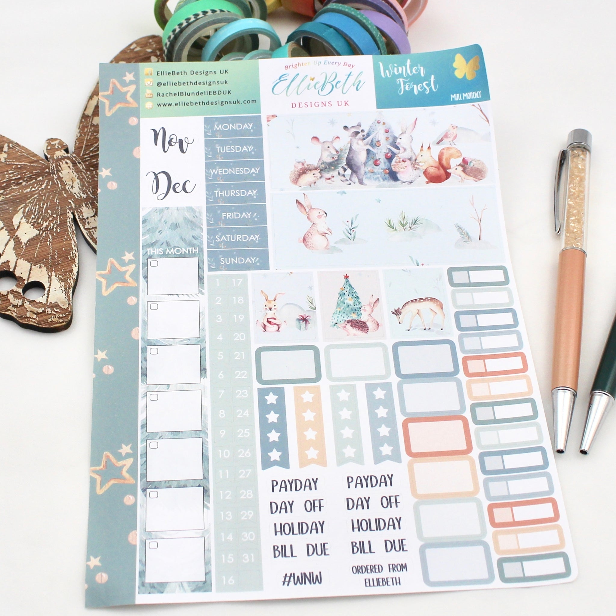 Winter Forest - Mini Monthly (Hobonichi Weeks compatible) - A5 binder ready planner stickers - EllieBeth Designs UK