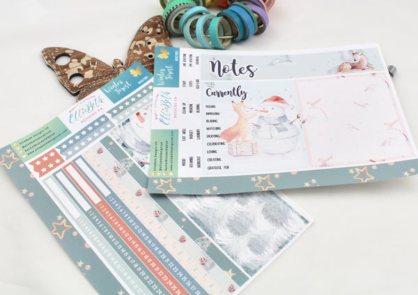 Winter Forest - Notes Page Kit -  A5 binder ready planner stickers - EllieBeth Designs UK