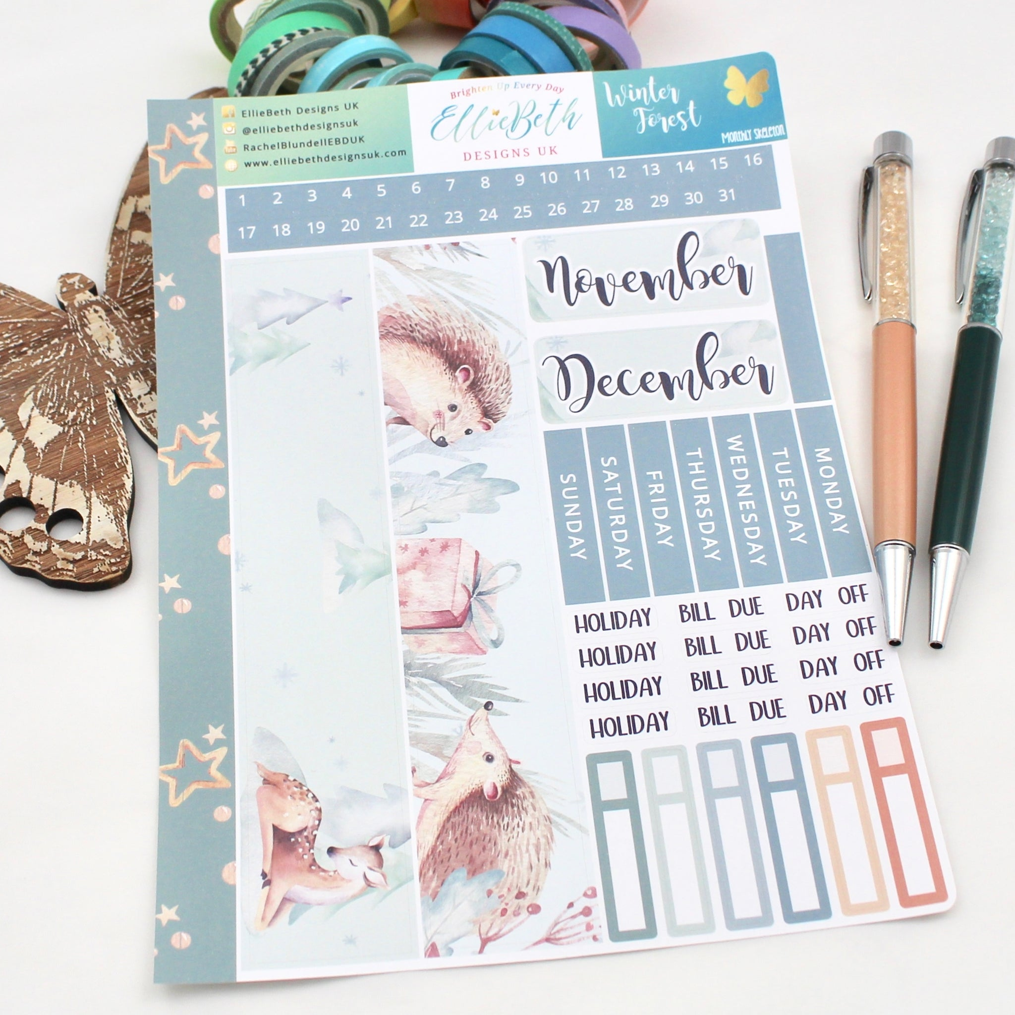 Winter Forest - Monthly View Kit -  A5 binder ready planner stickers - EllieBeth Designs UK