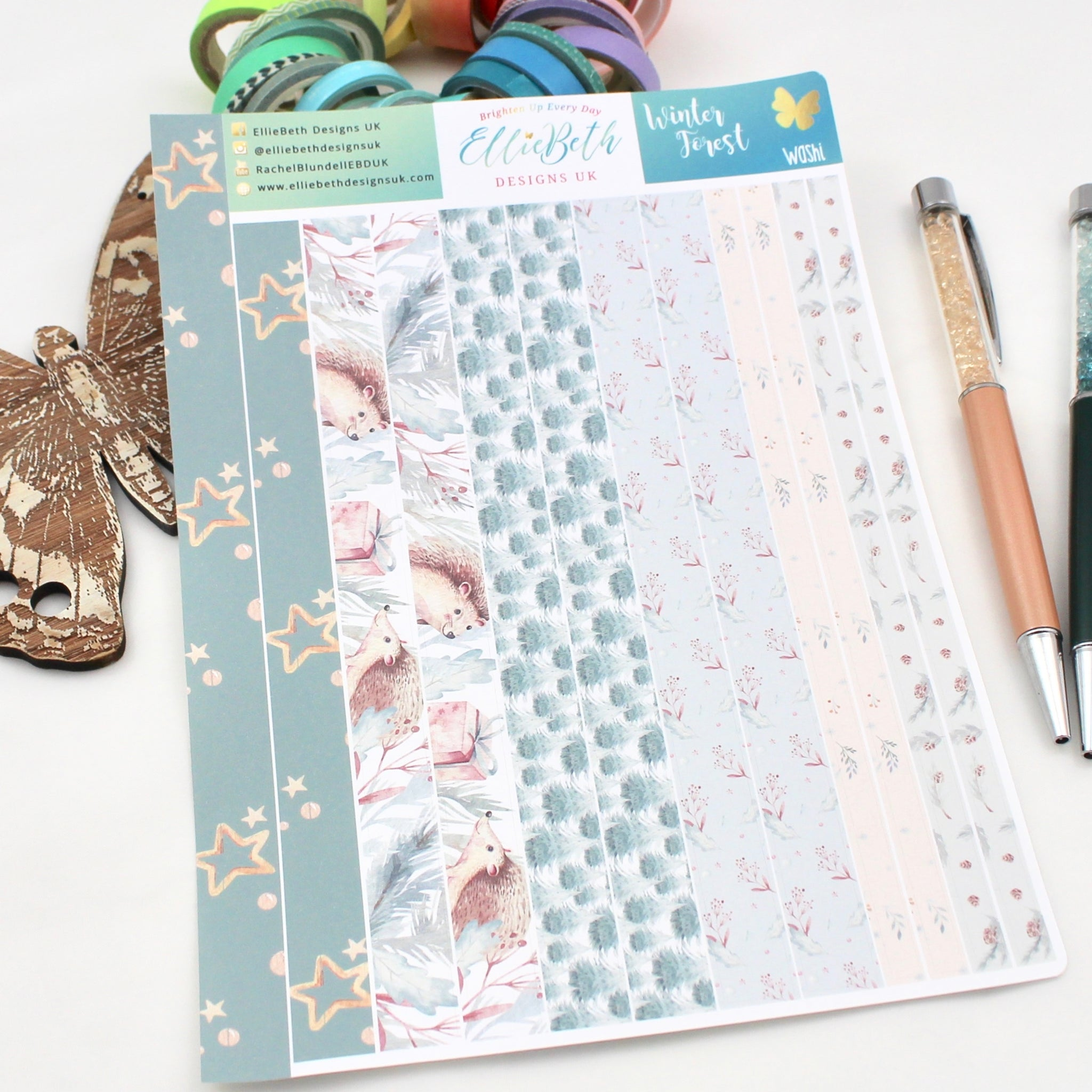 Winter Forest - Washi Strips -  A5 binder ready planner stickers - EllieBeth Designs UK
