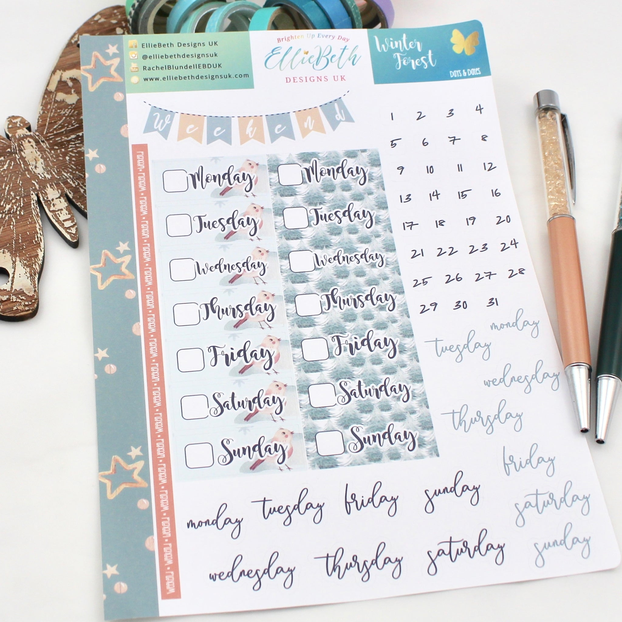 Winter Forest - Days and Dates - A5 binder ready planner stickers - EllieBeth Designs UK