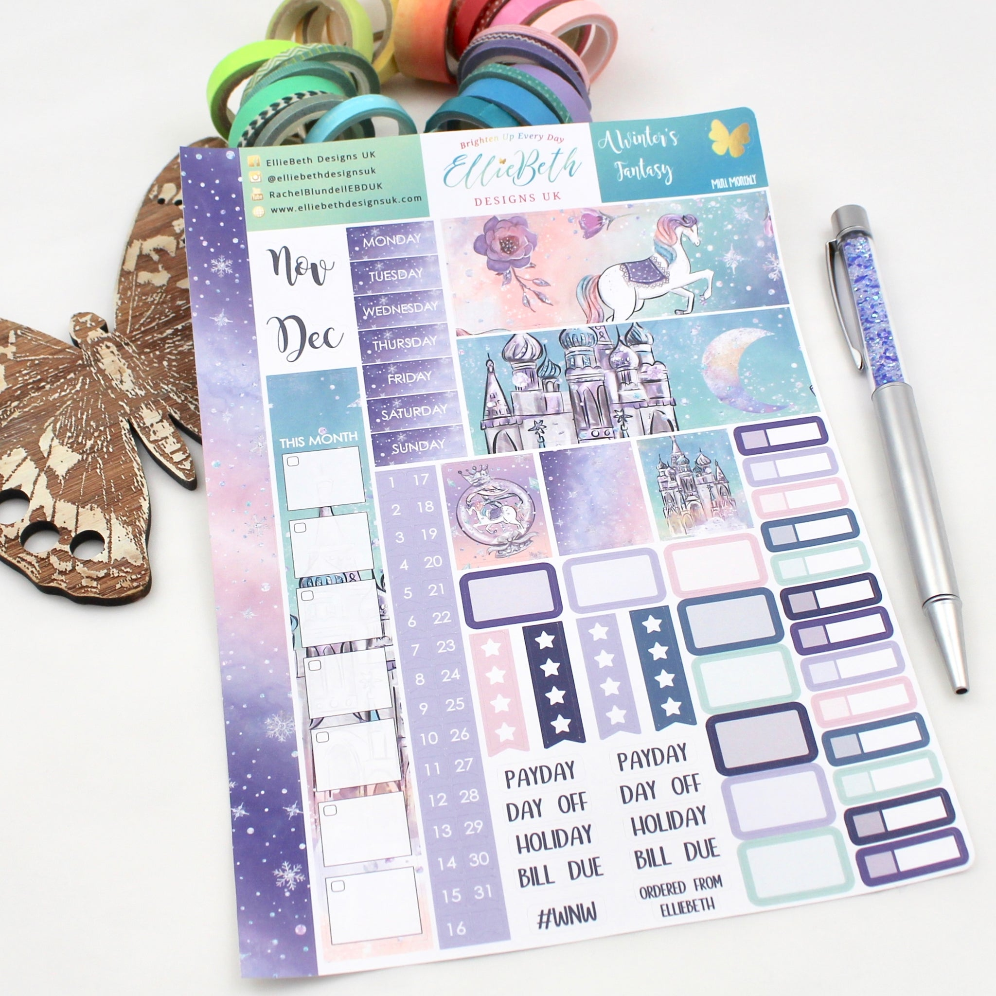 A Winter's Fantasy - Mini Monthly (Hobonichi Weeks compatible) - A5 binder ready planner stickers - EllieBeth Designs UK