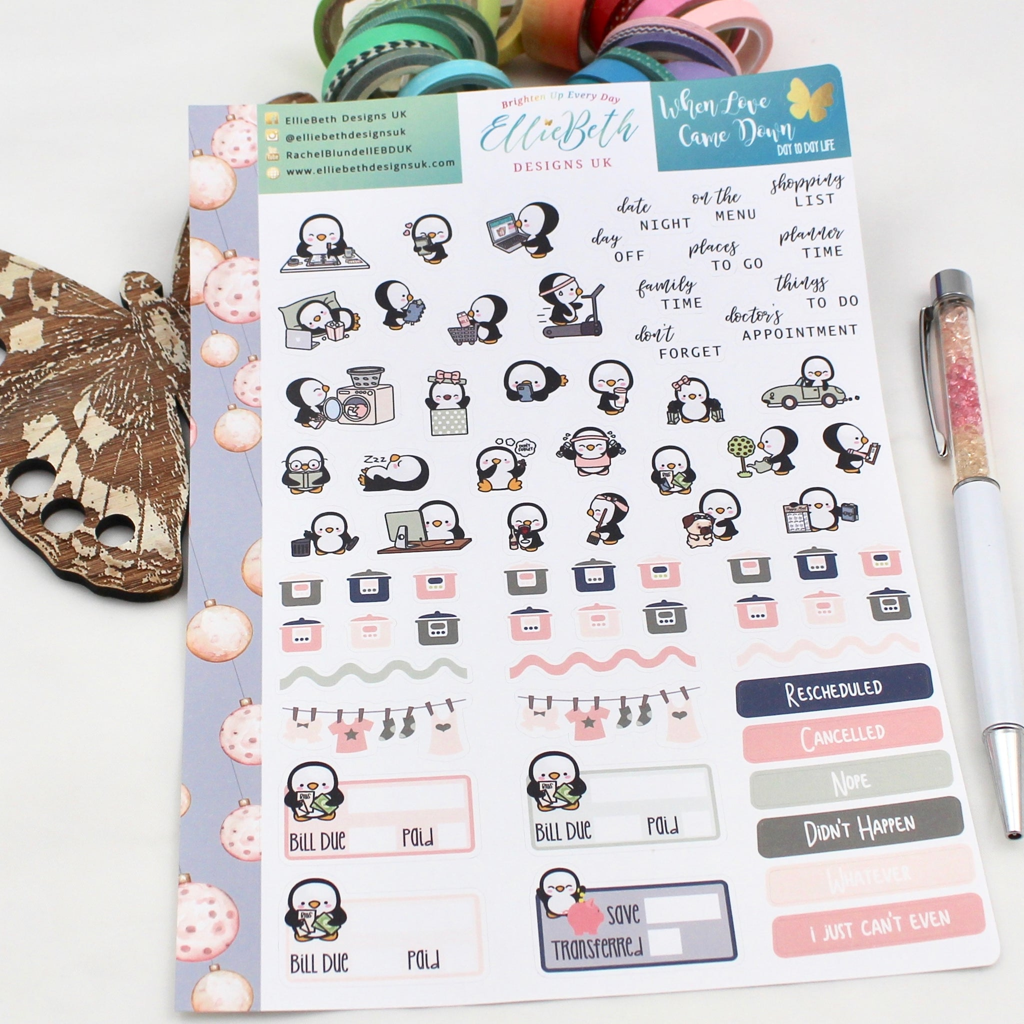 When Love Came Down - Day to Day LIFE - A5 binder ready planner stickers - EllieBeth Designs UK