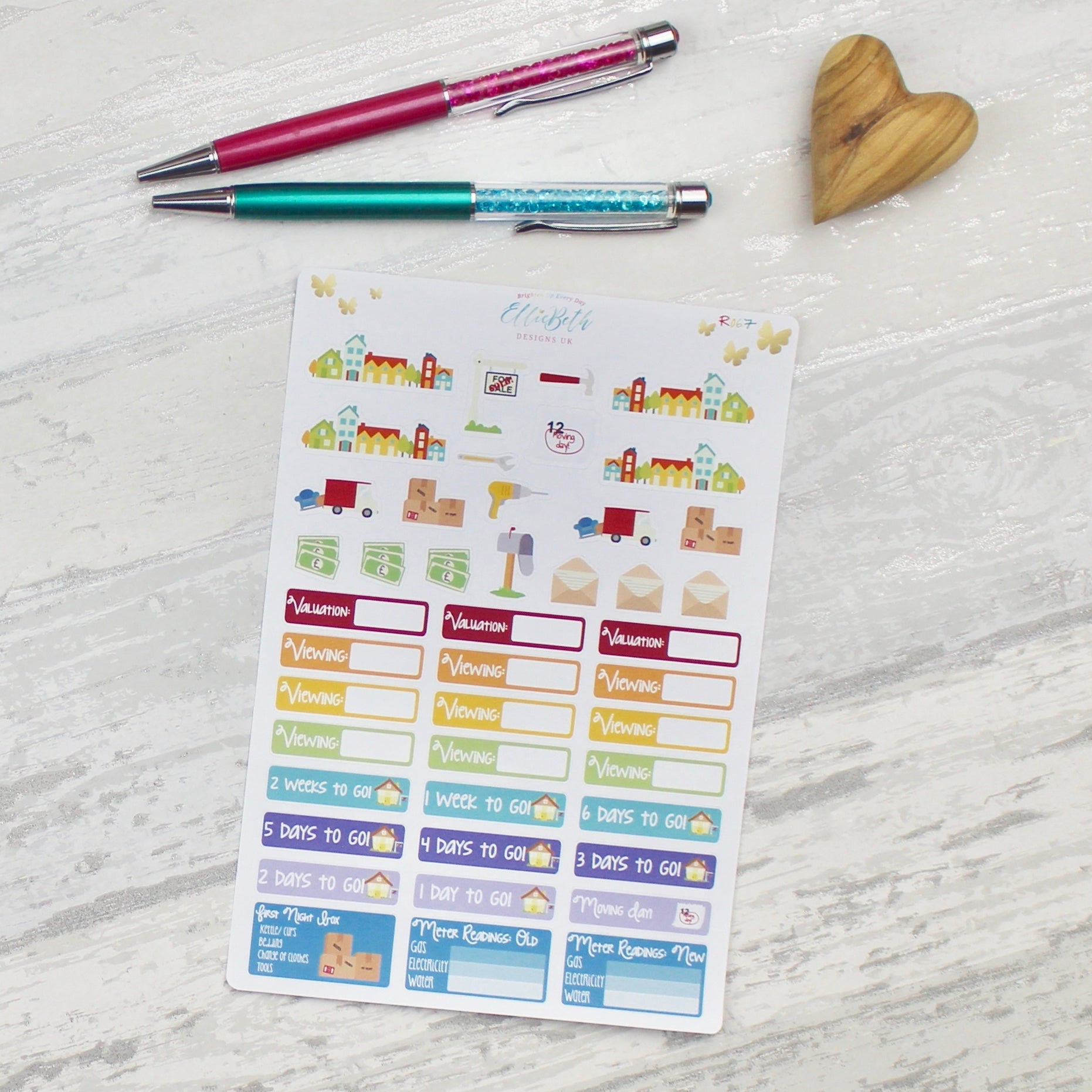 Rainbow House Moving Kit Planner Stickers