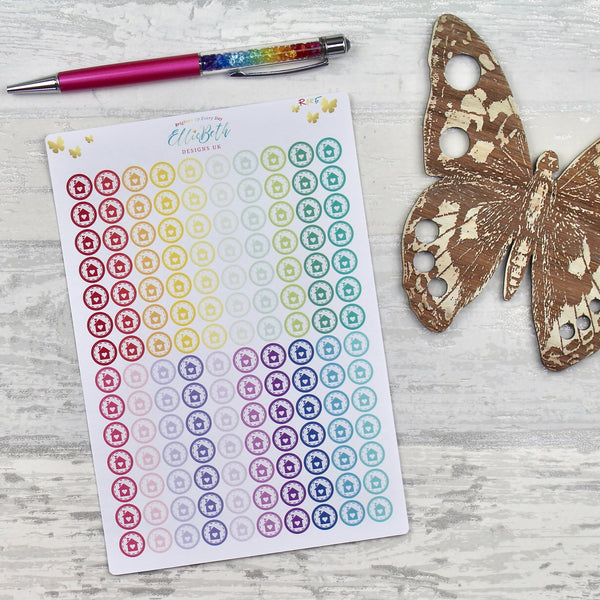 Rainbow House Stitched Round Icons - Planner Stickers