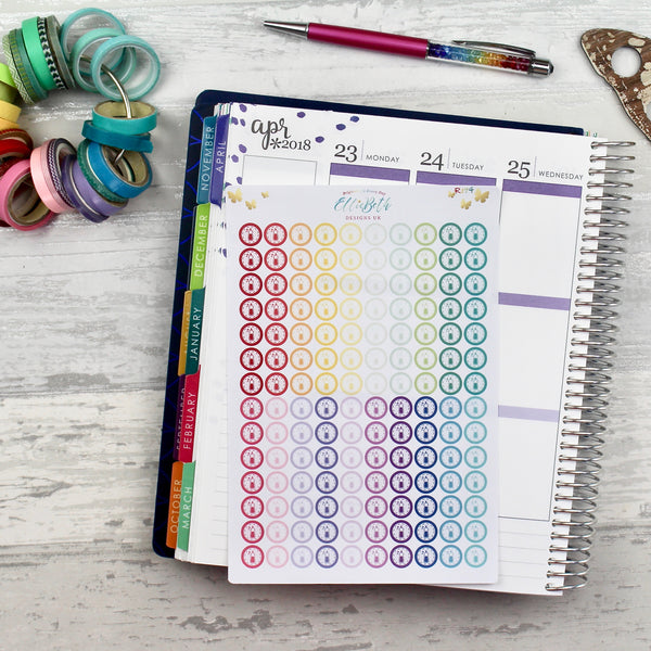 Rainbow Cleaning Bottle/ Washing Up Stitched Round Icons - Planner Stickers