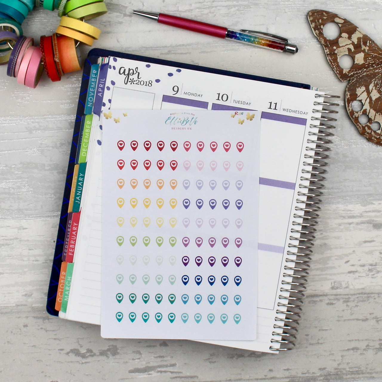 Rainbow Geotag/ Location/ Travel Icons  - Planner Stickers