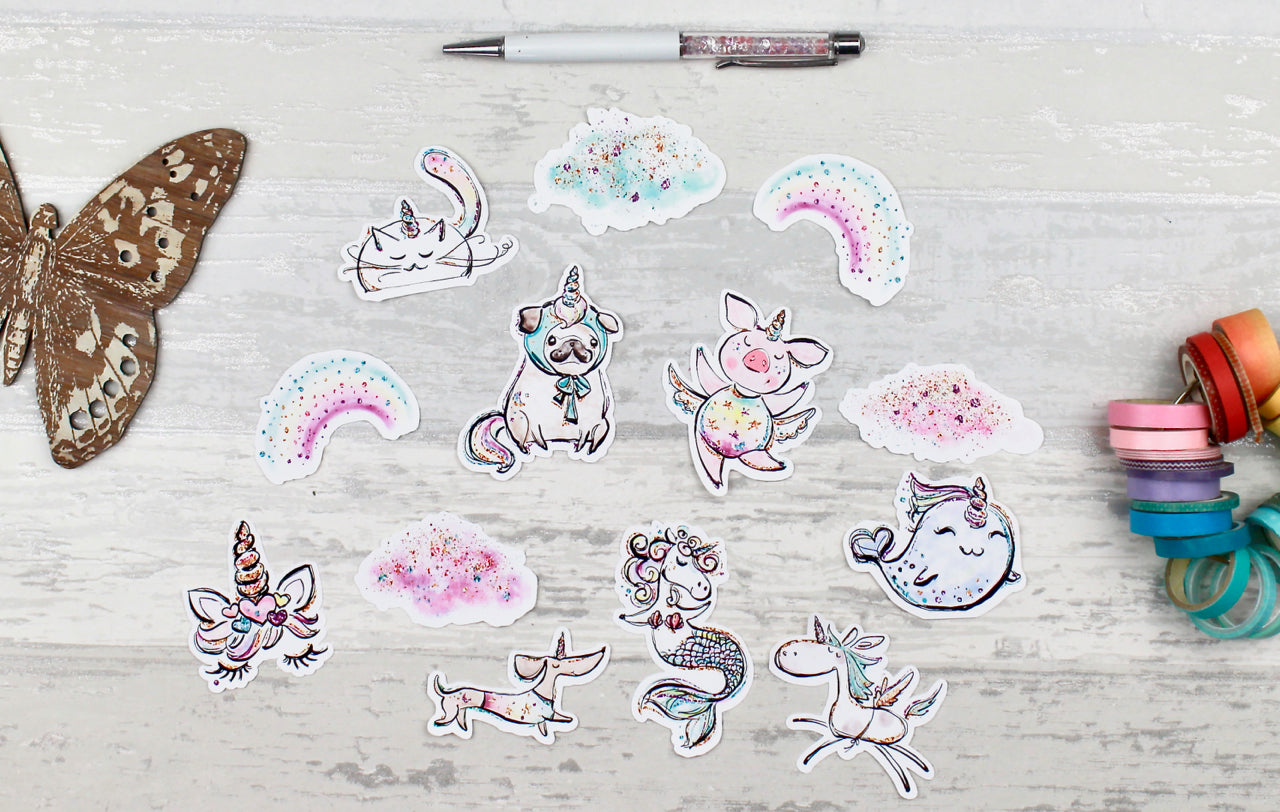 'Unicorns' Die Cuts - Ephemera for Planners, Scrapbooking, Traveler's Notebooks! Made to Order - EllieBeth Designs UK