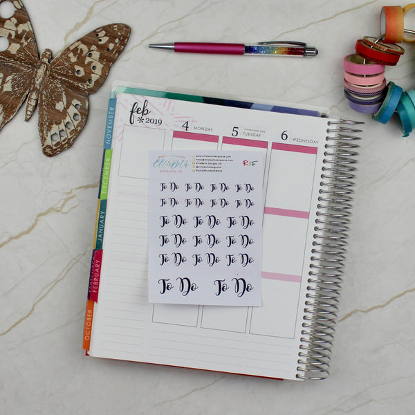 'To Do' Script Word Planner Stickers