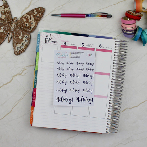 'Holiday' Script Word Planner Stickers