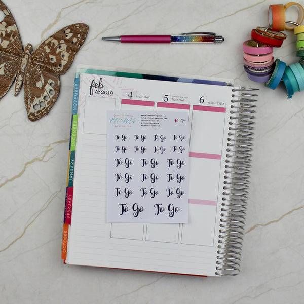 'To Go' Script Word Planner Stickers