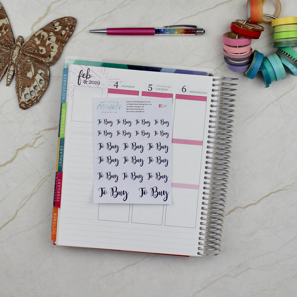 'To Buy' Script Word Planner Stickers