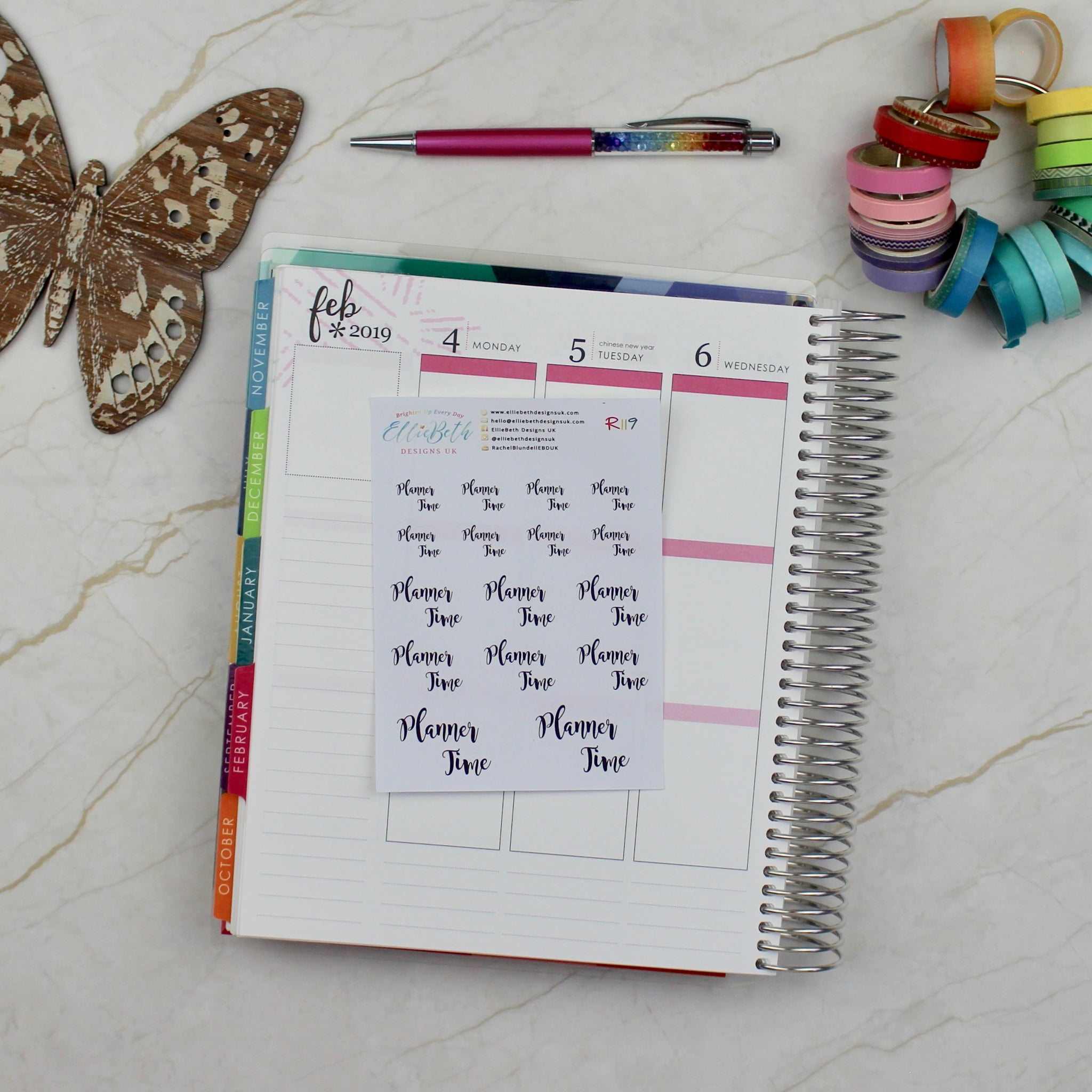 'Planner Time' Script Word Planner Stickers - EllieBeth Designs UK