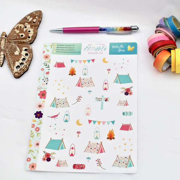 'Under the Stars' - Decorative Sheet -  A5 binder ready planner stickers