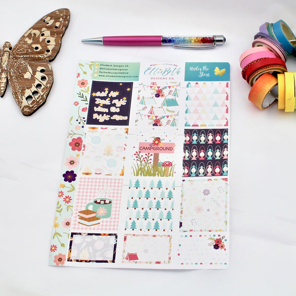'Under the Stars' - Designer Full and Half Boxes Sheet -  A5 binder ready planner stickers