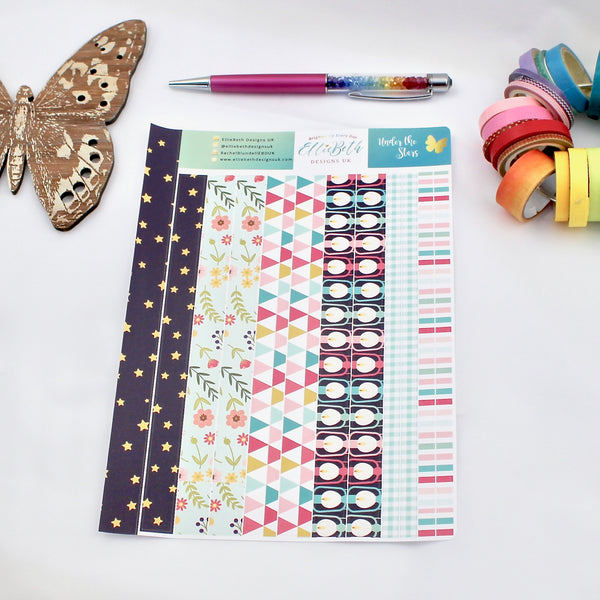 'Under the Stars' - Washi Strips -  A5 binder ready planner stickers
