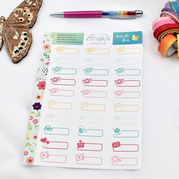 'Under the Stars' - Day to Day Labels -  A5 binder ready planner stickers