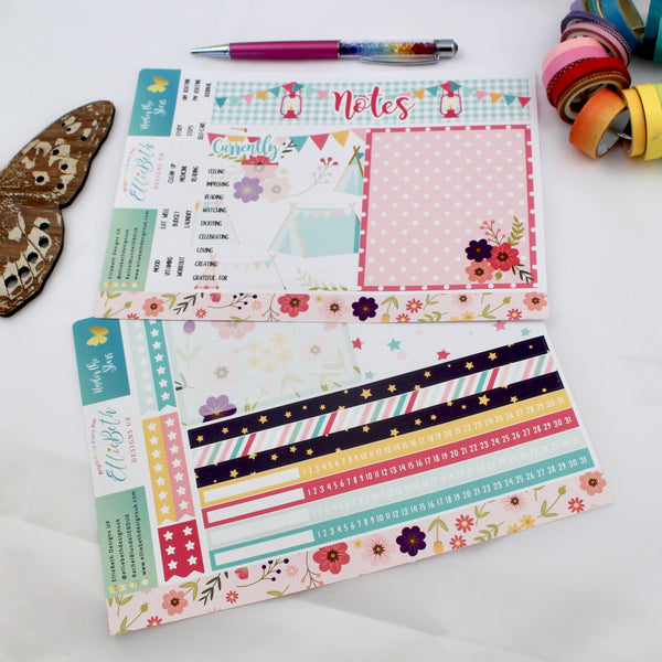 'Under the Stars' - Notes Page Kit -  A5 binder ready planner stickers