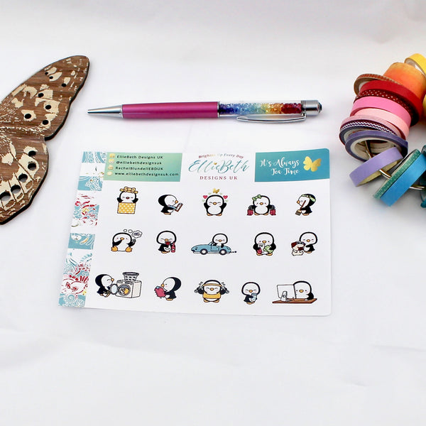 'It's Always Tea Time' - A Penguin For Every Occasion -  binder ready planner stickers - EllieBeth Designs UK
