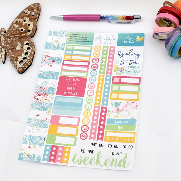 'It's Always Tea Time' - Core Sheet -  A5 binder ready planner stickers