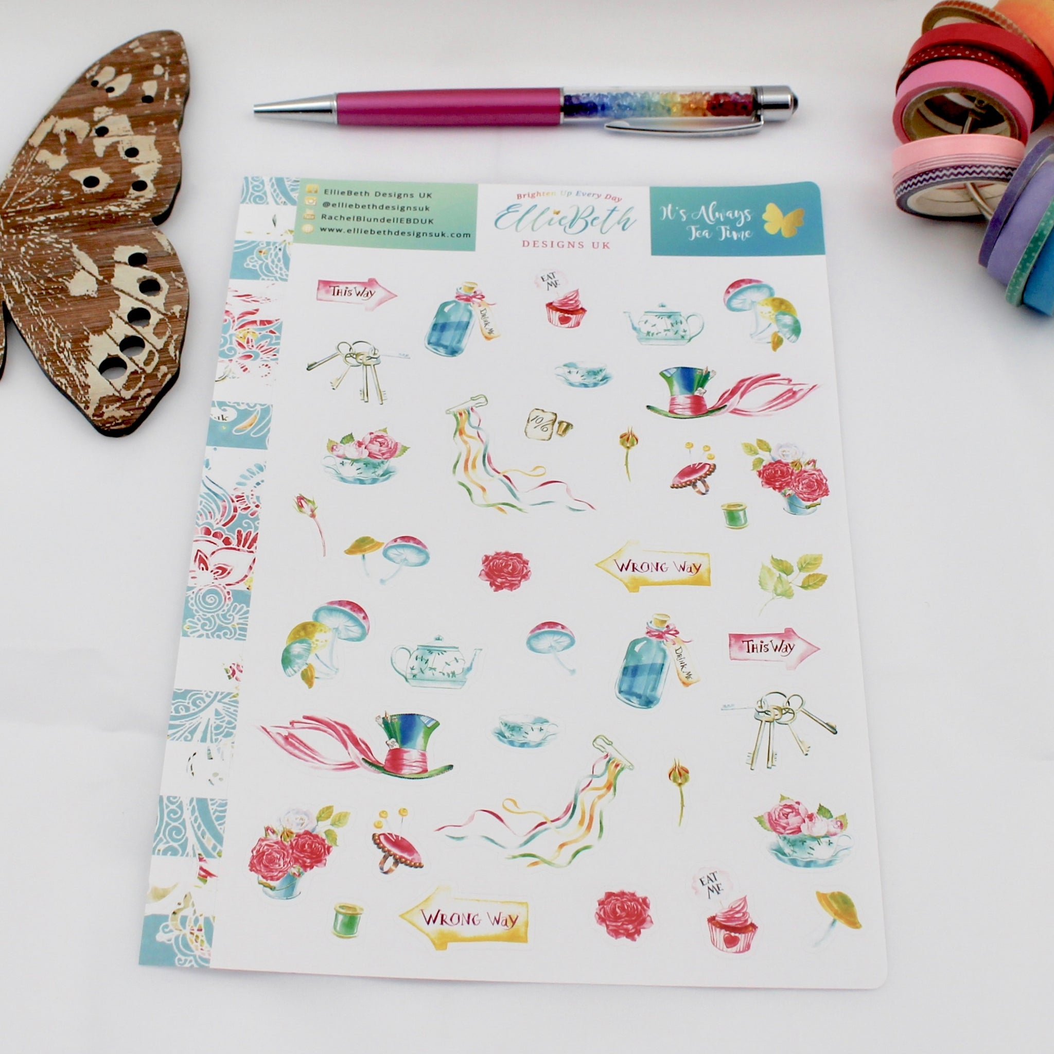 'It's Always Tea Time'  - Decorative Sheet -  A5 binder ready planner stickers - EllieBeth Designs UK