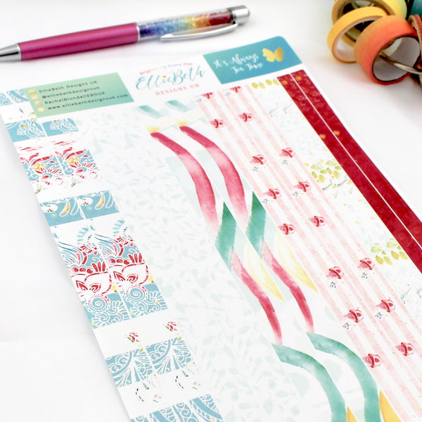 'It's Always Tea Time'  - Washi Strips -  A5 binder ready planner stickers