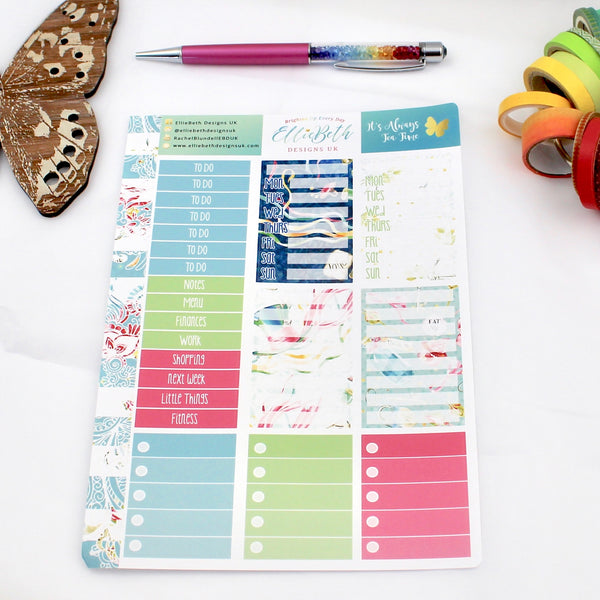 'It's Always Tea Time' - Make a List Sheet -  A5 binder ready planner stickers - EllieBeth Designs UK