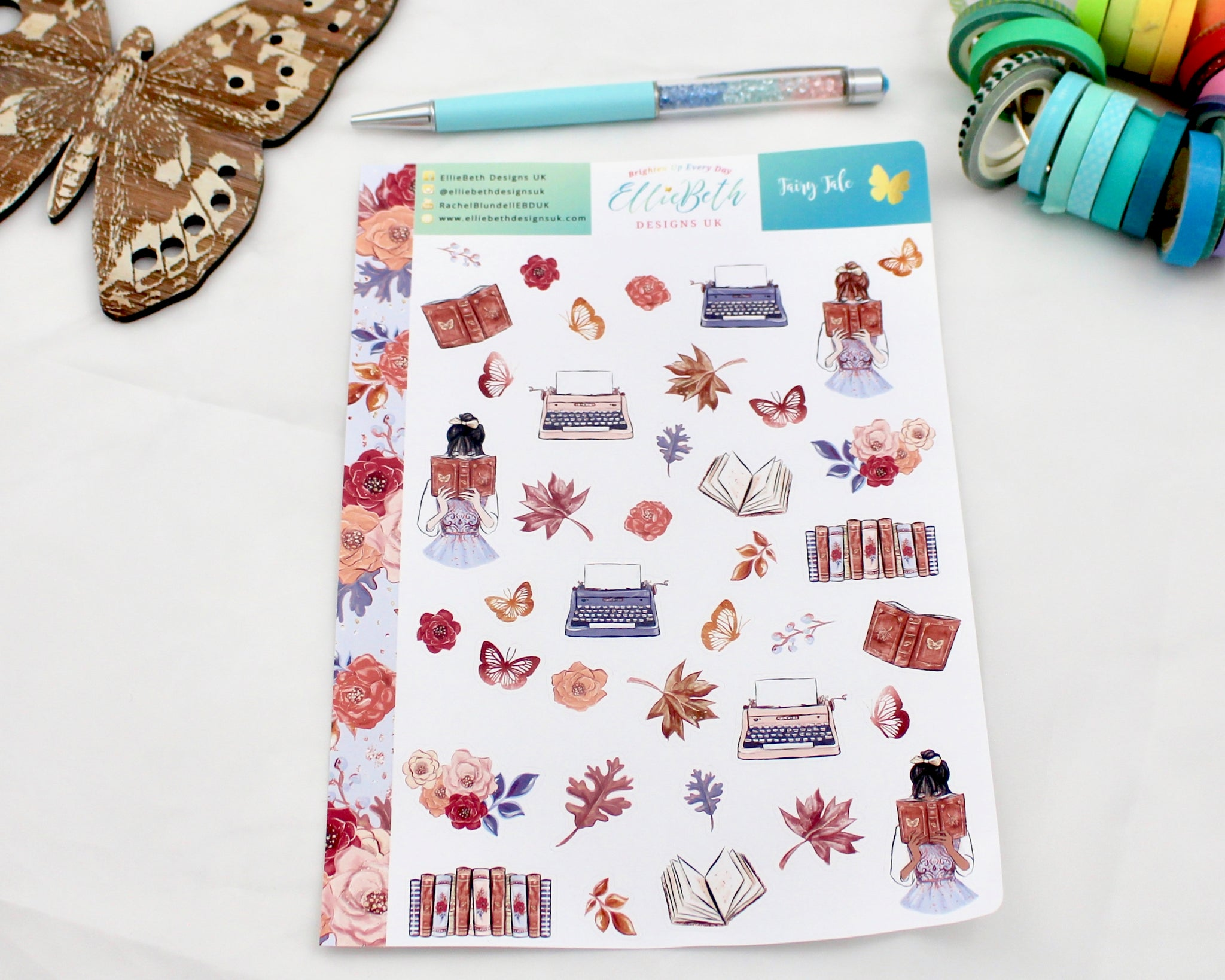 'Fairy Tale' - Decorative Sheet -  A5 binder ready planner stickers
