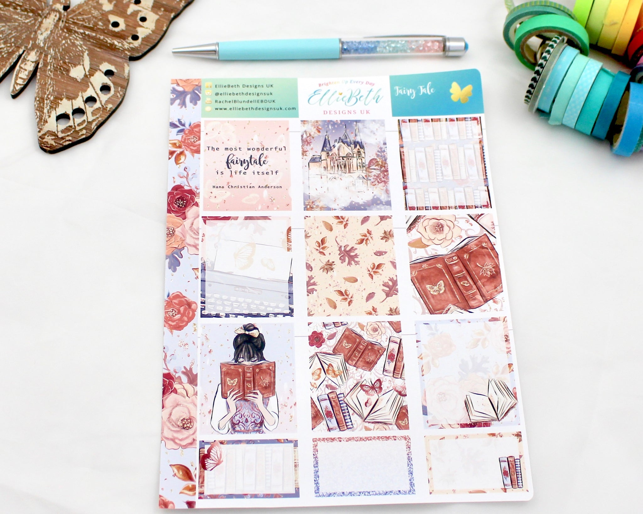 'Fairy Tale' - Designer Full and Half Boxes Sheet -  A5 binder ready planner stickers