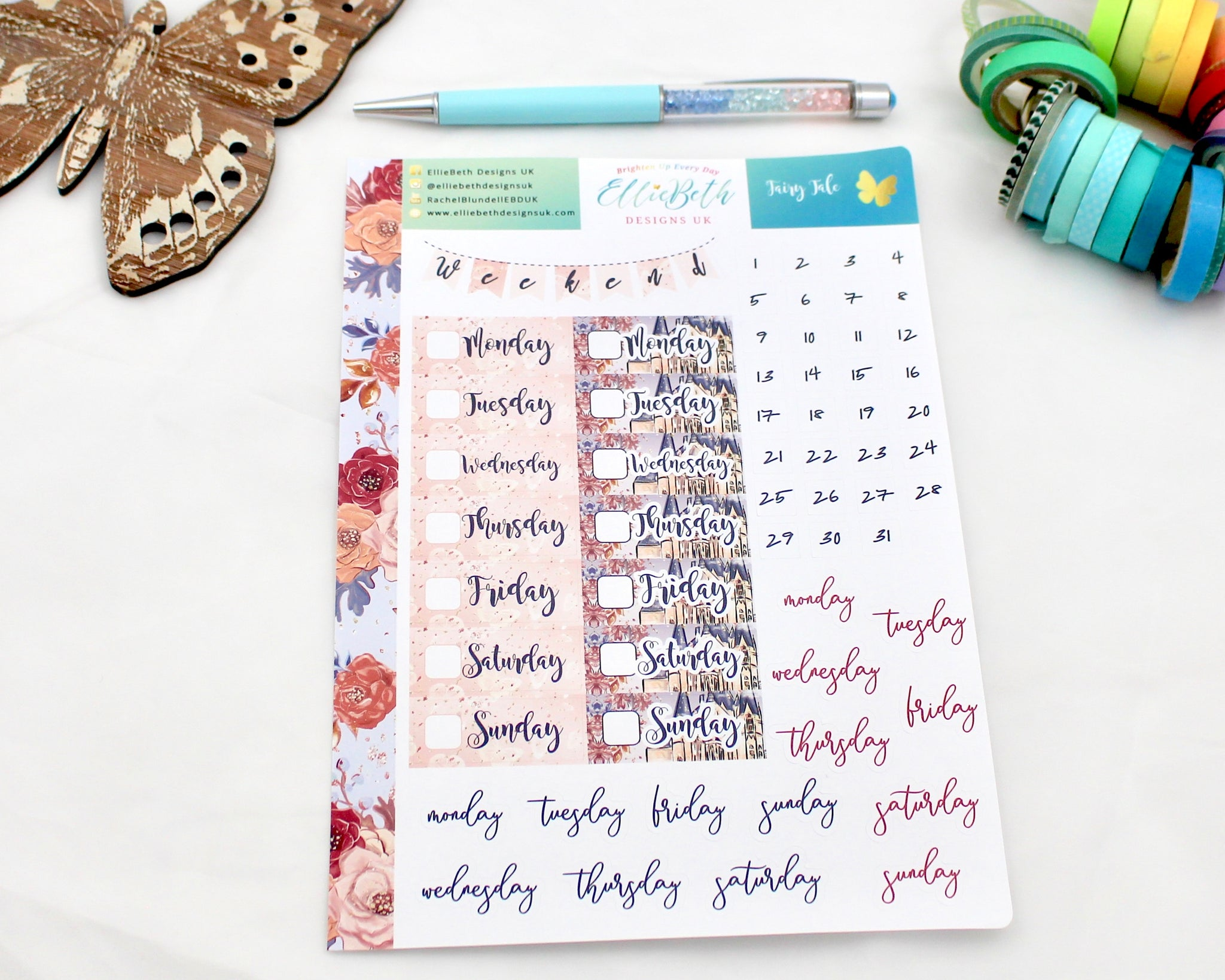 'Fairy Tale' - Days and Dates -  A5 binder ready planner stickers