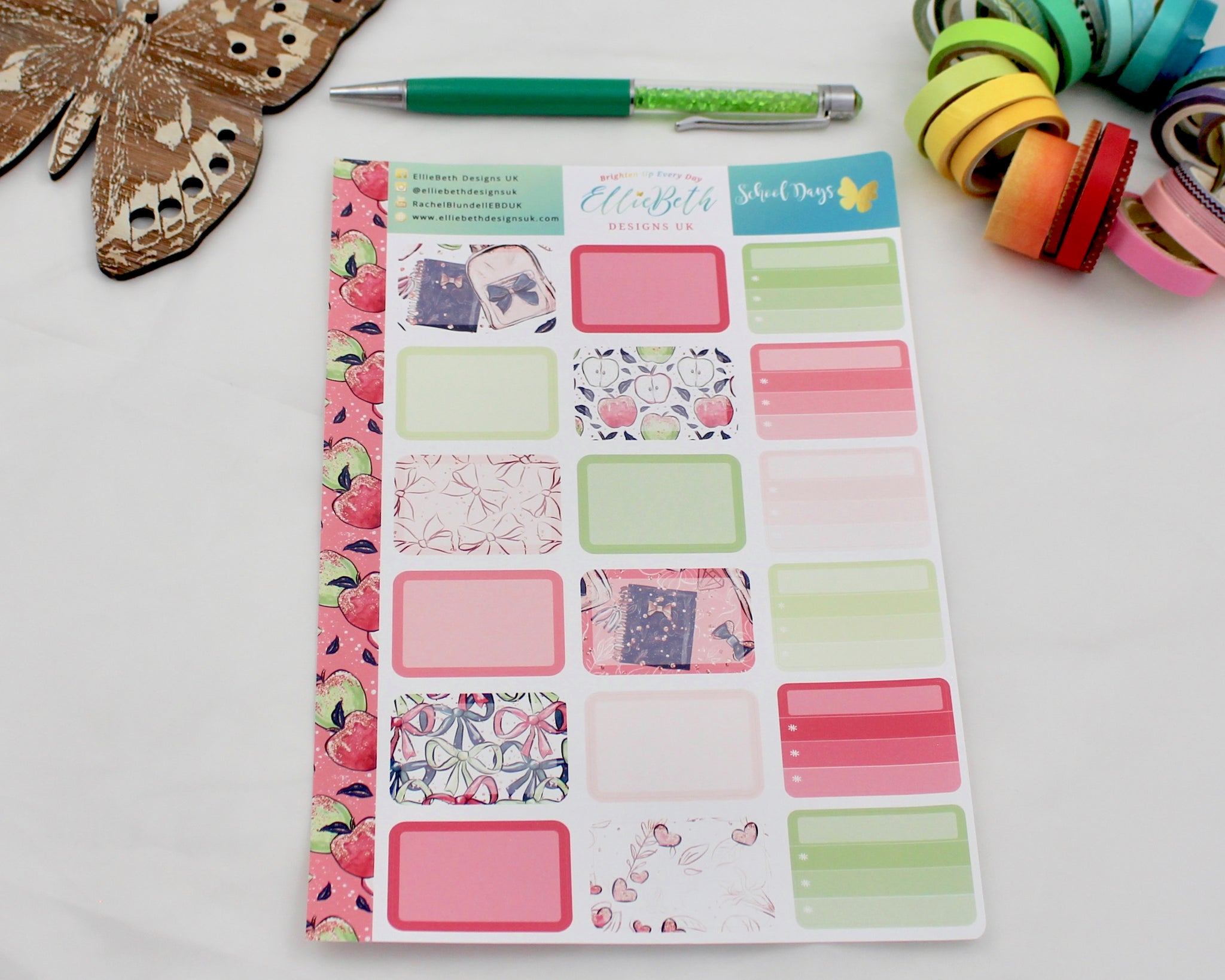 'School Days' - Half Boxes -  A5 binder ready planner stickers