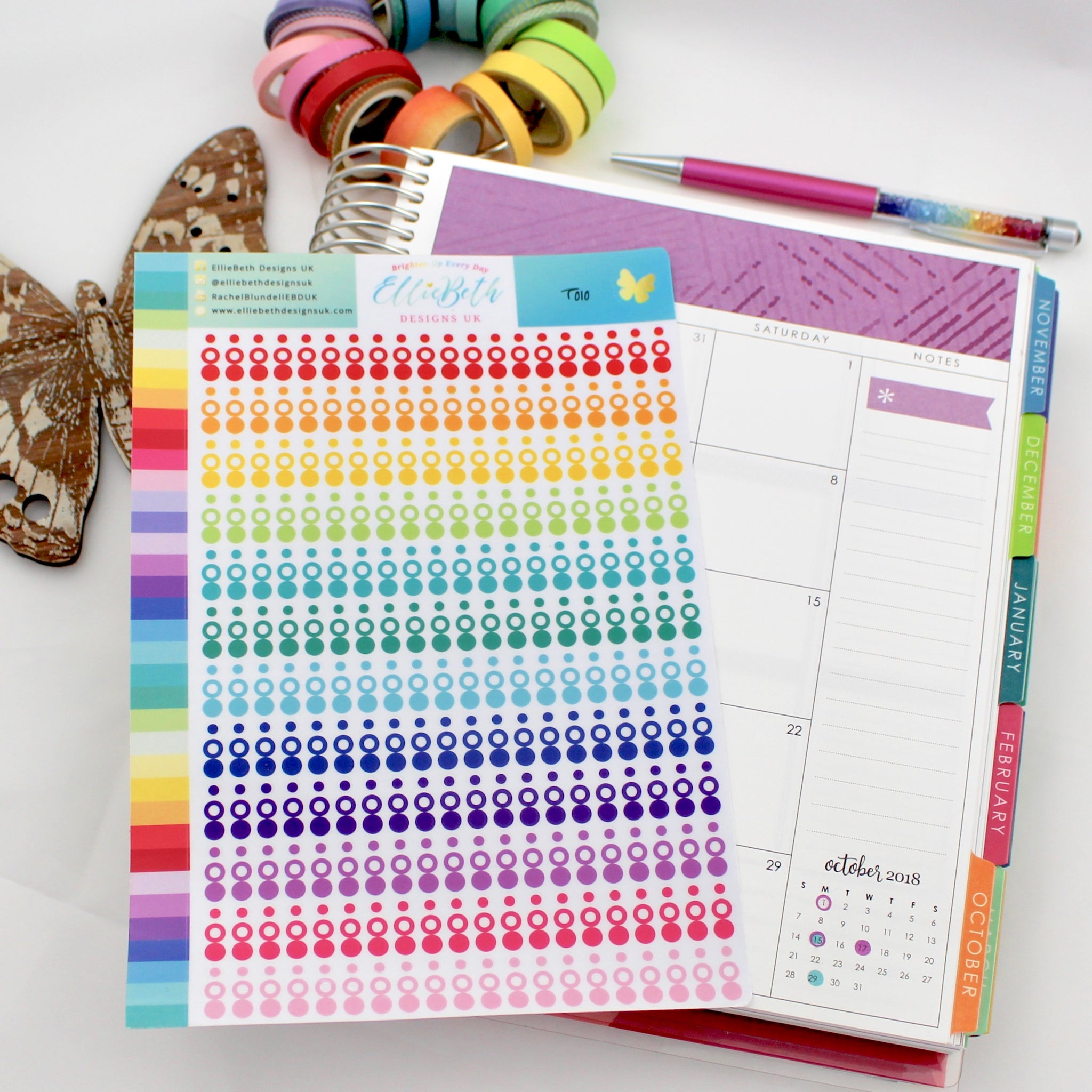 TEENY TINY! Rainbow Transparent Layering Circles and Dots Planner Stickers -  A5 binder ready - EllieBeth Designs UK