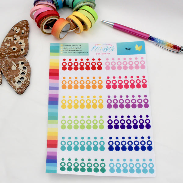 UPDATED! Rainbow Transparent Mixed Circles & Dots - Planner Stickers - A5 Binder Ready - EllieBeth Designs UK