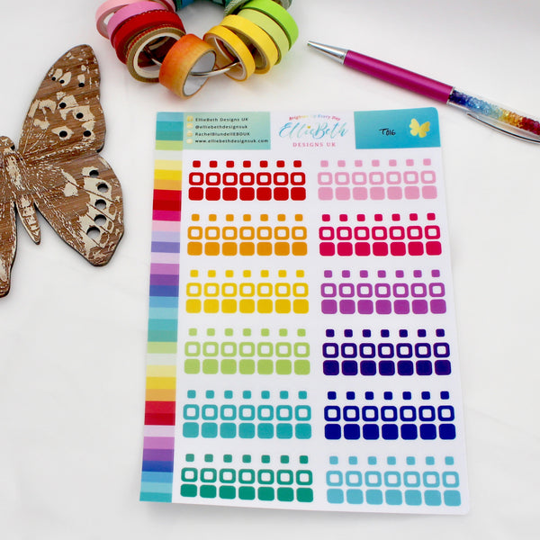 UPDATED! Rainbow Transparent Mixed Rounded Squares & Dots - Planner Stickers A5 Binder Ready - EllieBeth Designs UK