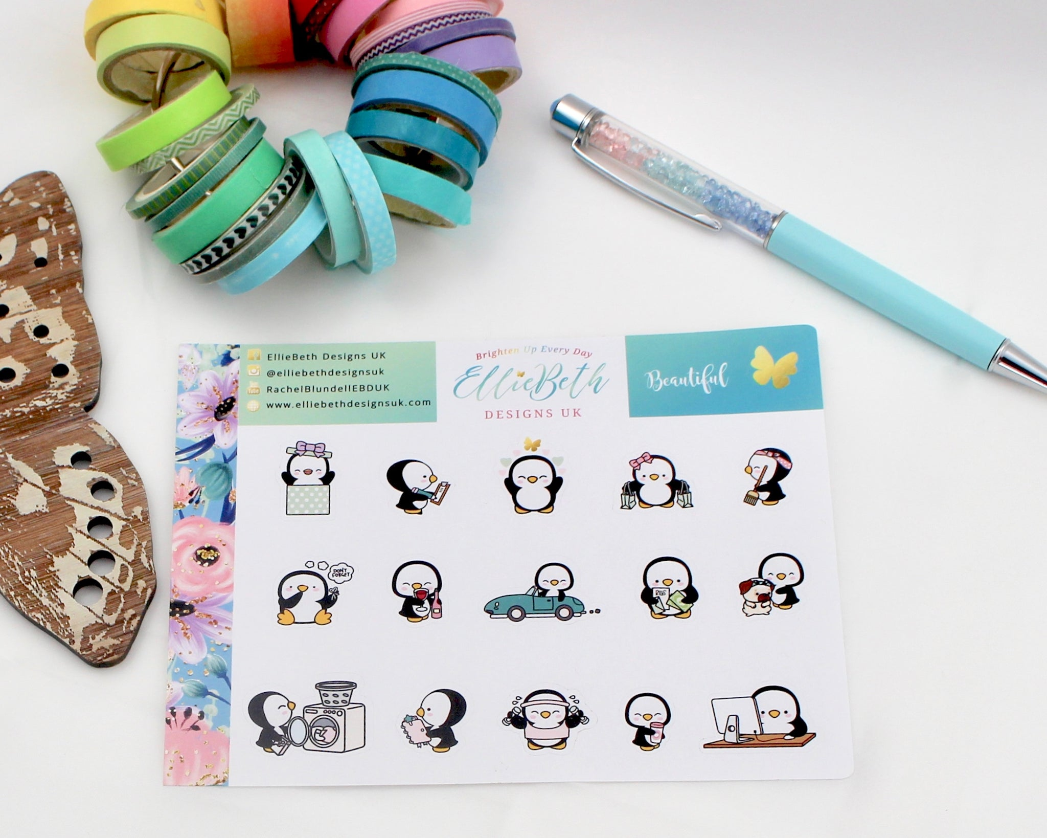 'Beautiful' - A Penguin For Every Occasion -  binder ready planner stickers