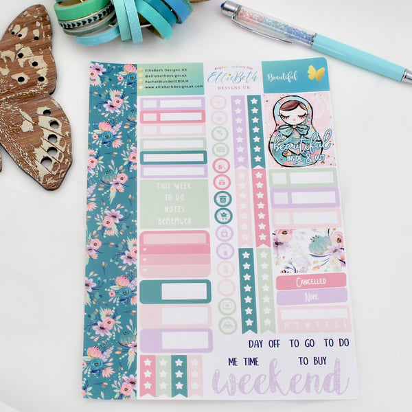 'Beautiful' - Core Sheet -  A5 binder ready planner stickers