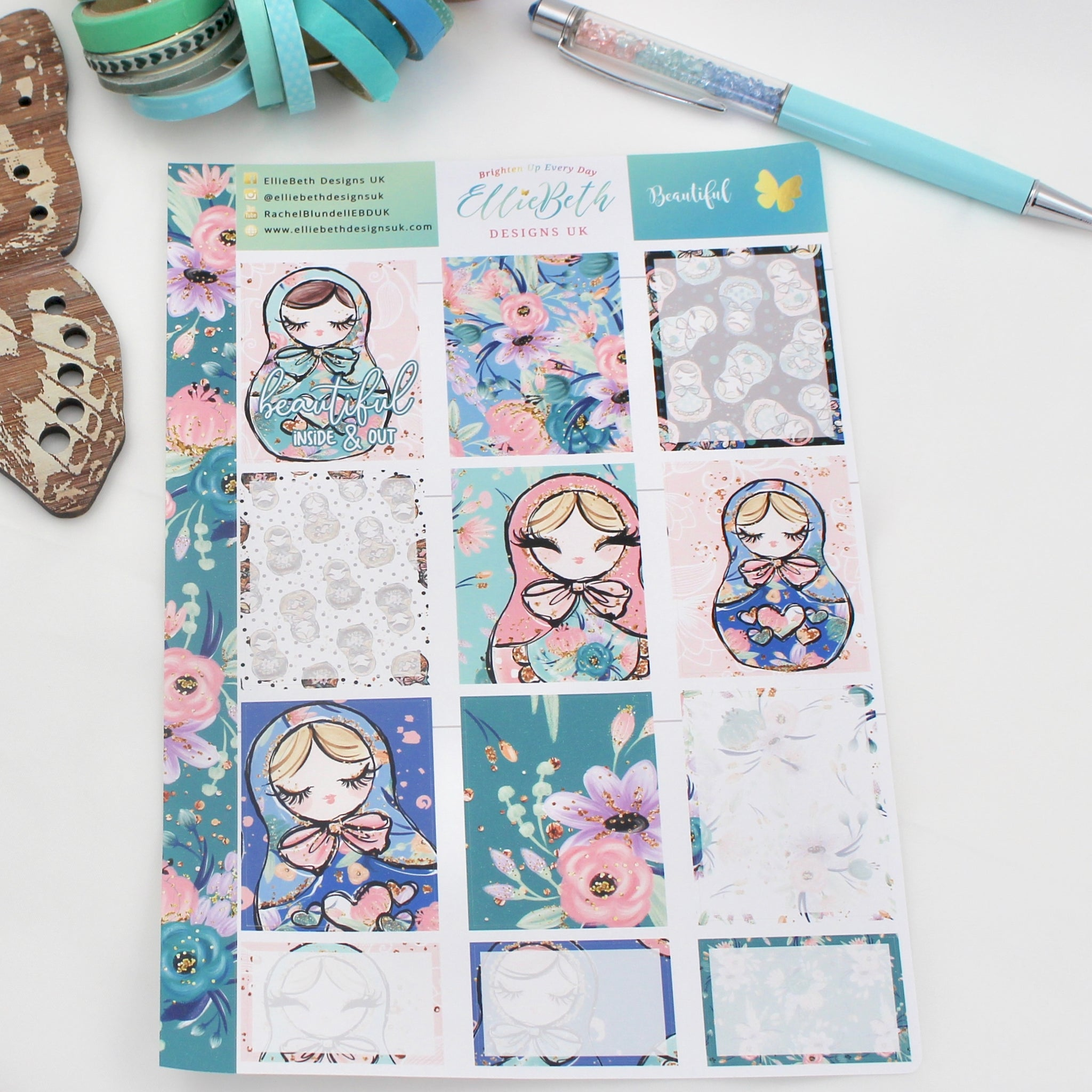 'Beautiful' - Designer Full and Half Boxes Sheet -  A5 binder ready planner stickers