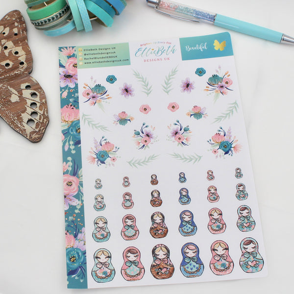 'Beautiful' - Decorative Sheet -  A5 binder ready planner stickers