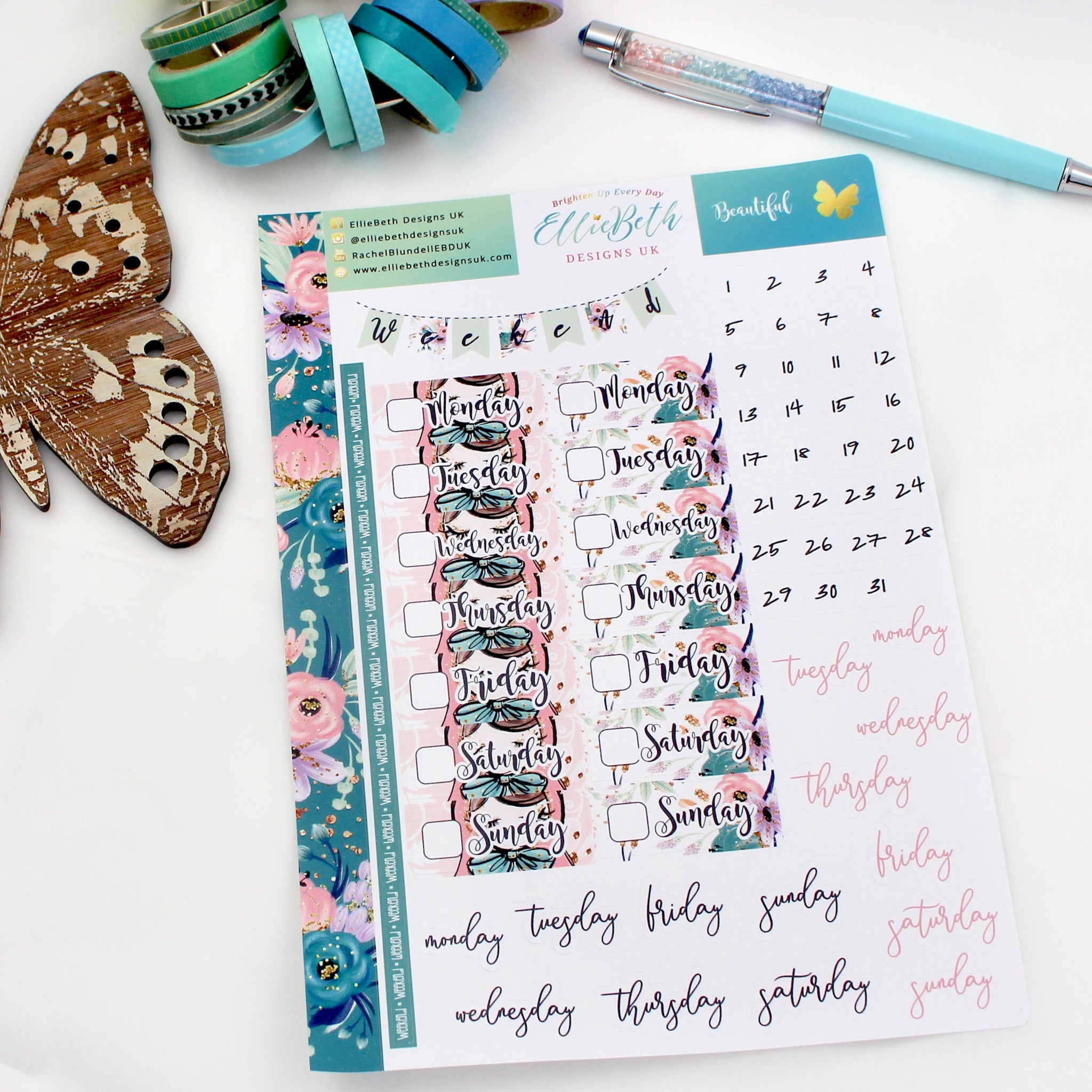 'Beautiful' - Days and Dates -  A5 binder ready planner stickers - EllieBeth Designs UK